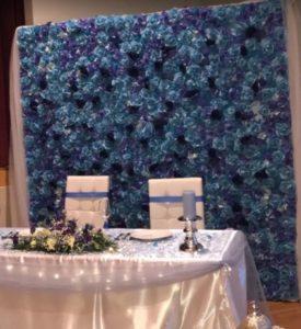 Blumenwand blau